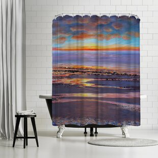 Sandra Francis Sunset Beach Glow Shower Curtain
