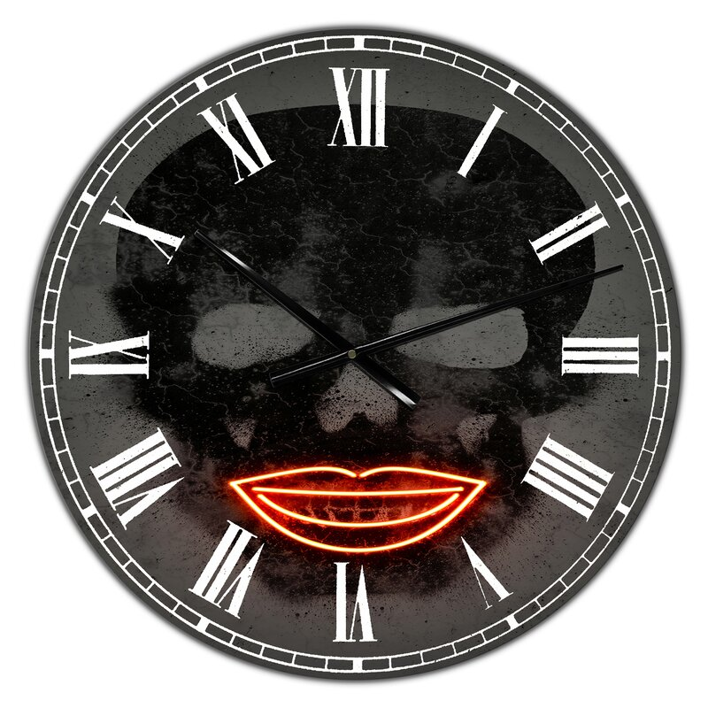 East Urban Home Oversized Smiling Lips Neon Skull Wall Clock Wayfair Ca