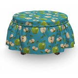 Apple Raw Granny Smith Fruits 2 Piece Box Cushion Ottoman Slipcover Set by East Urban Home