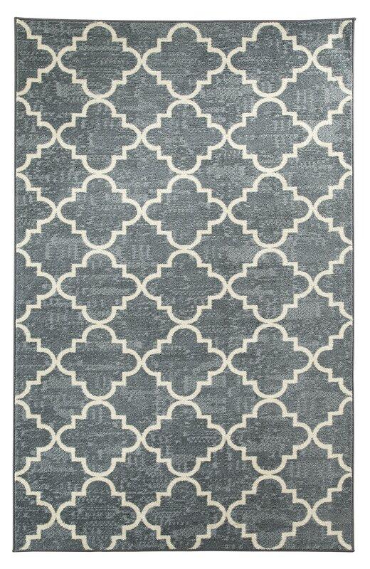 Elegant Orwin Fancy Trellis Gray/White Area Rug
