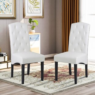 Isa Tufted Upholstered Parsons Chair in White Set of 2