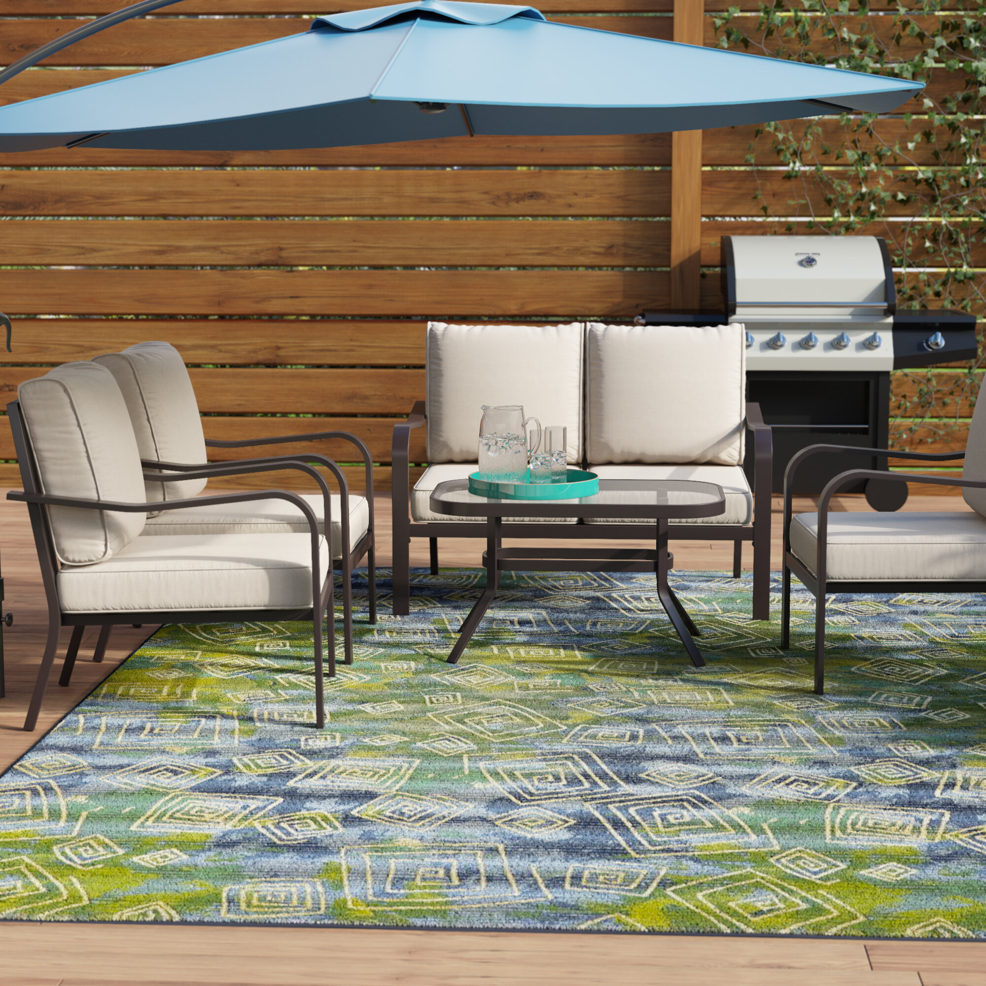 Ebern Designs Jarry 4 Piece Outdoor Conversation Set with Cushions