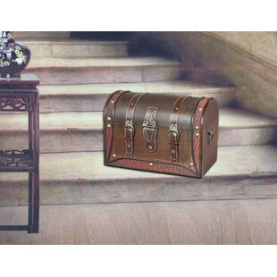 Antique Style Wood and Leather Trunk with Round Top by Quickway Imports