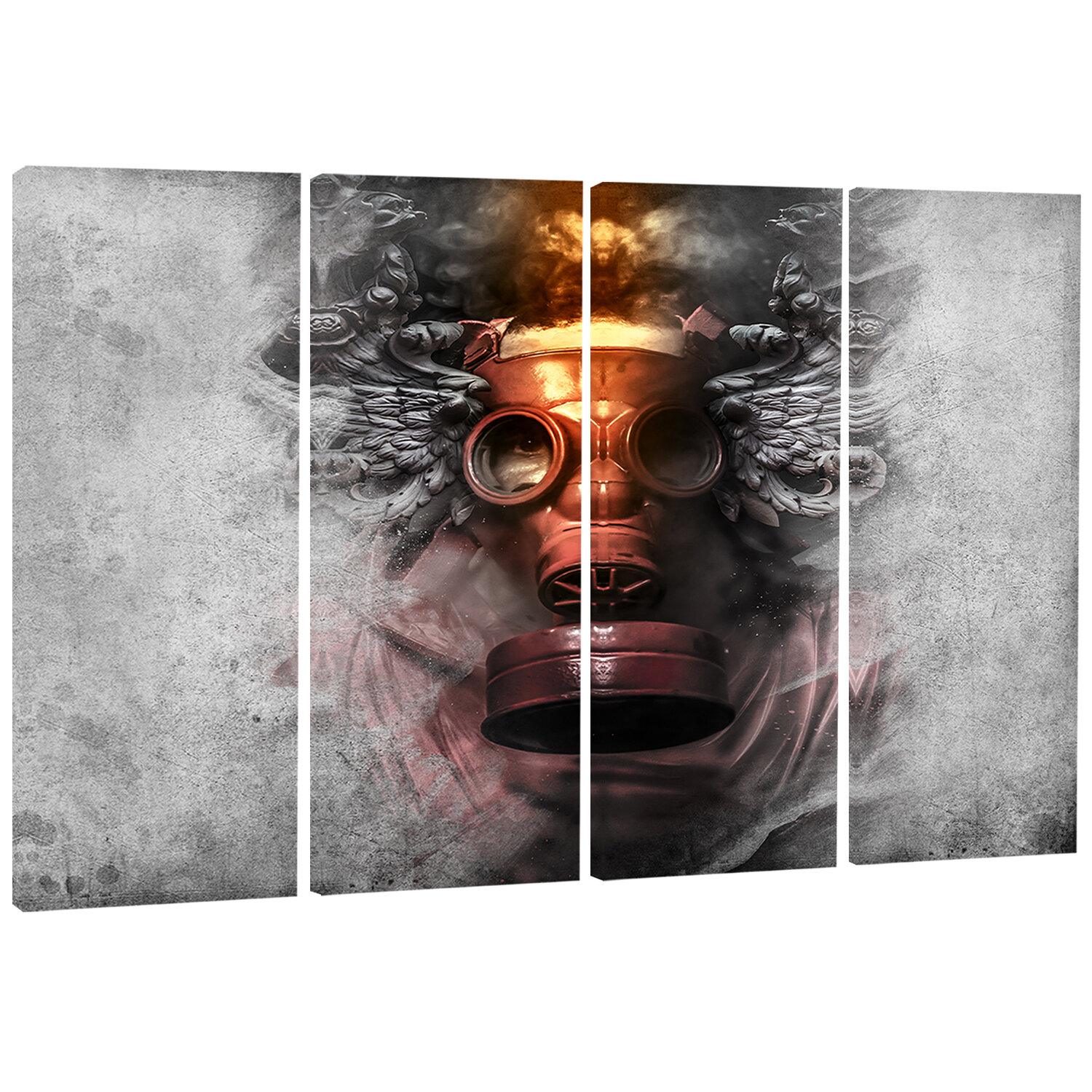 Designart Toxic Man In Mask 4 Piece Wrapped Canvas Graphic Art Set On Canvas Wayfair