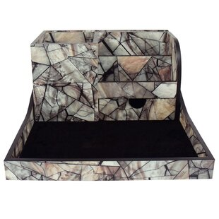 Ikee Design Premium 2 Piece Wooden Marble Office Storage Desk Organizer Set