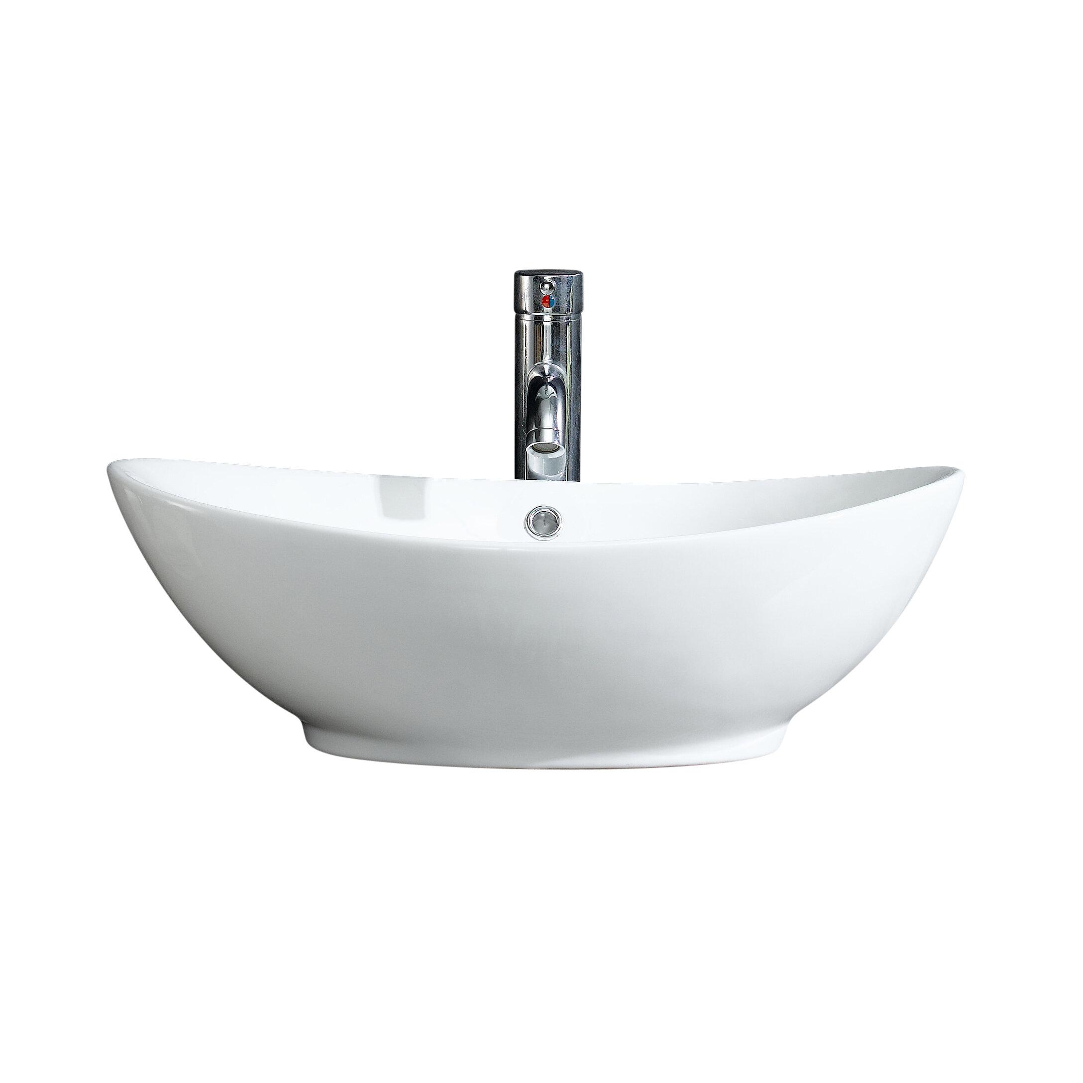 Fine Fixtures Modern Ceramic Oval Vessel Bathroom Sink With Overflow Reviews Wayfair