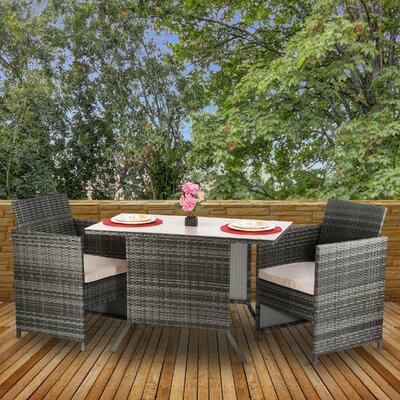 Adaira All Weather 3 Piece Bistro Set With Cushions by Latitude Run #2