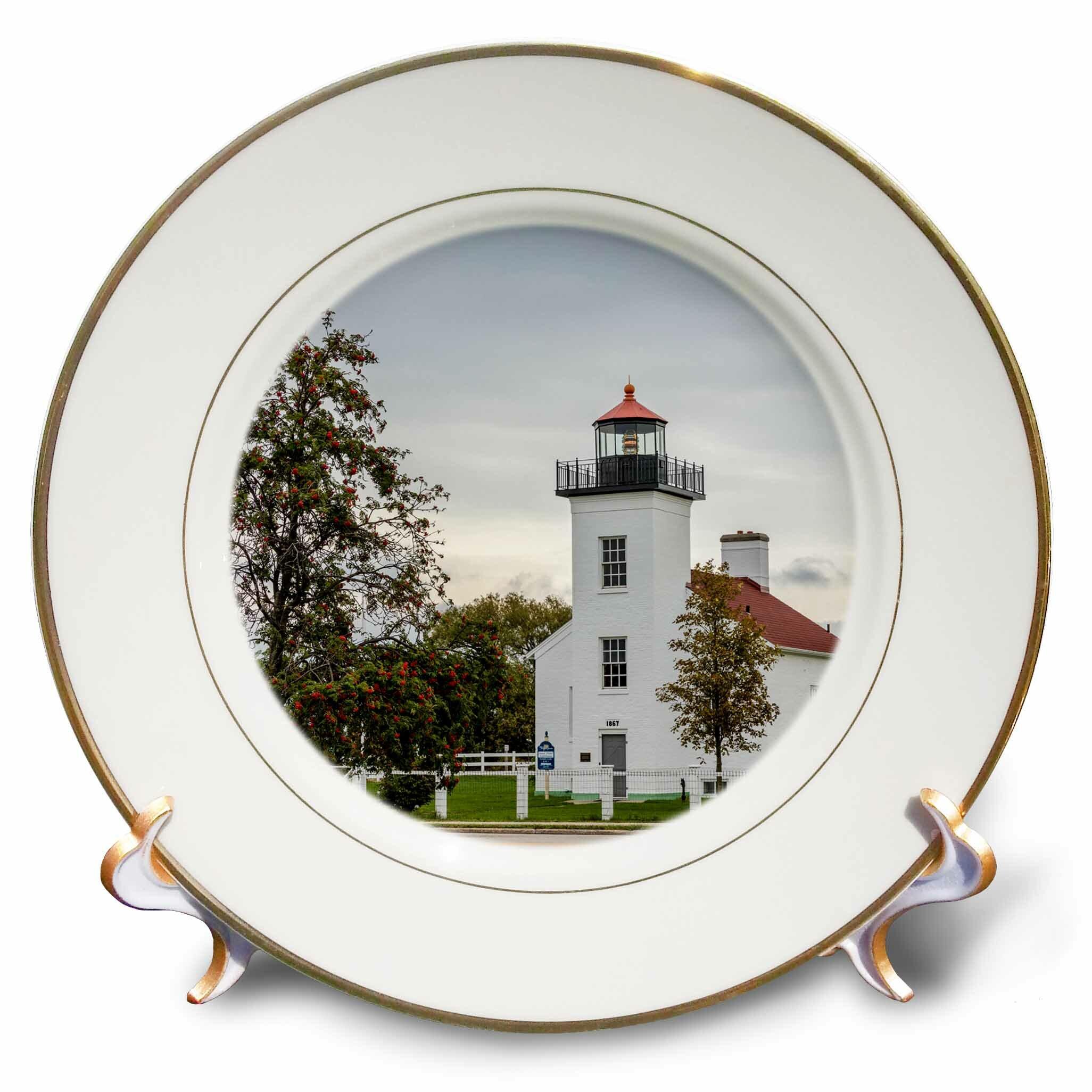 East Urban Home Sand Point Lighthouse In Escanaba Michigan Usa Porcelain Decorative Plate Wayfair
