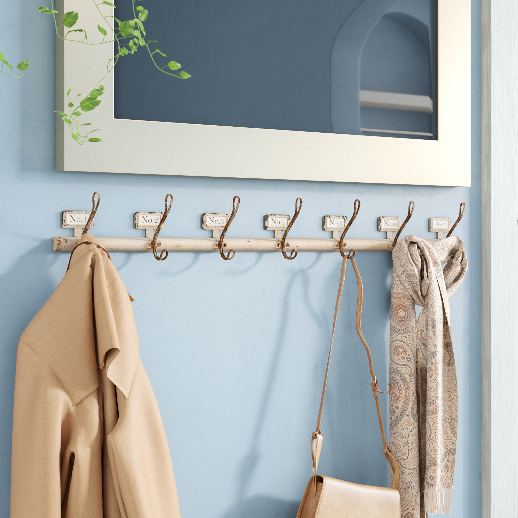 Birch Lane Heritage Malcolm Rustic Numbered Wall Mounted Coat Rack