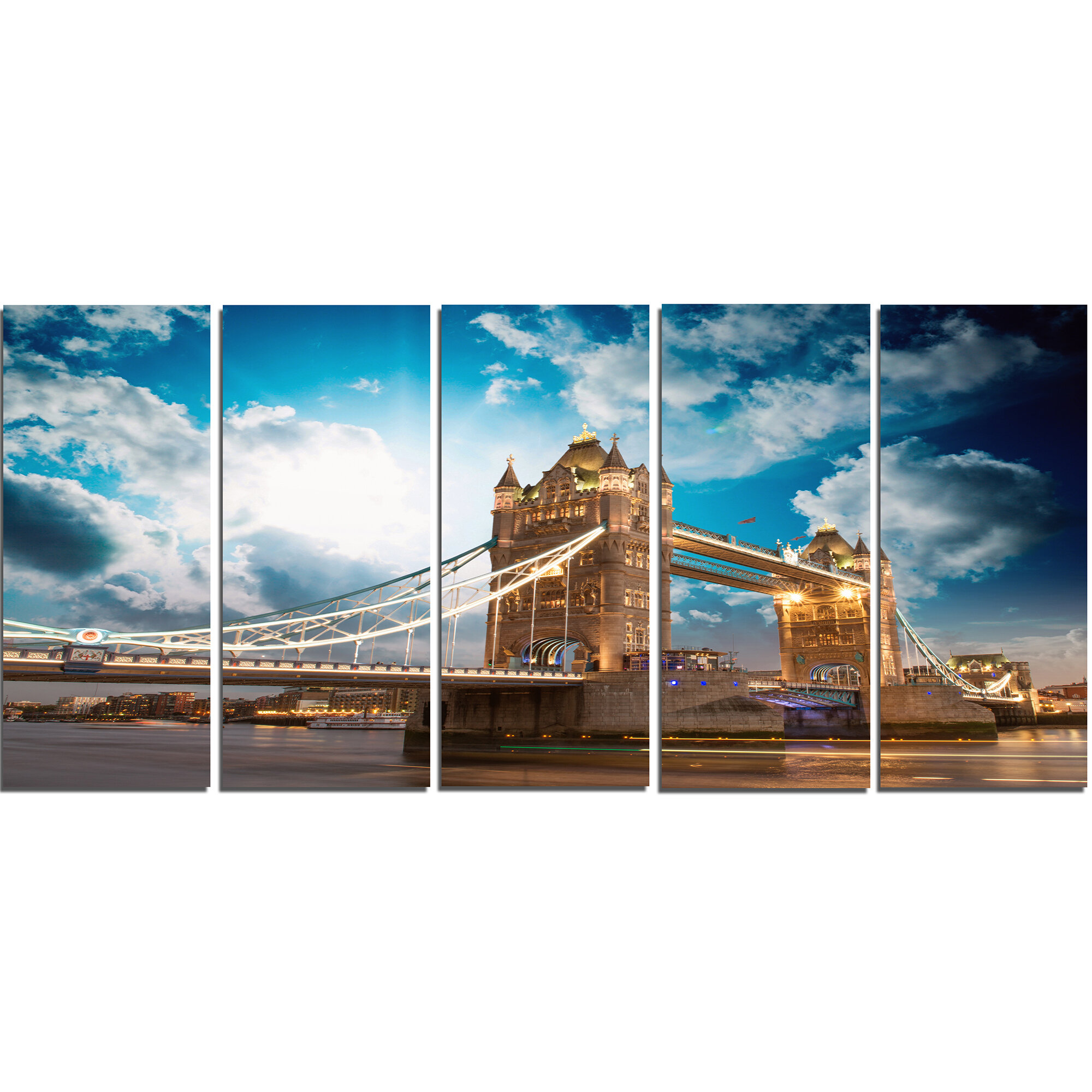 Designart Sunset Over Tower Bridge 5 Piece Wall Art On Wrapped Canvas Set Wayfair