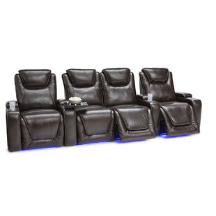 Leather Home Theater Row Seating Row of 4 with Middle Loveseat