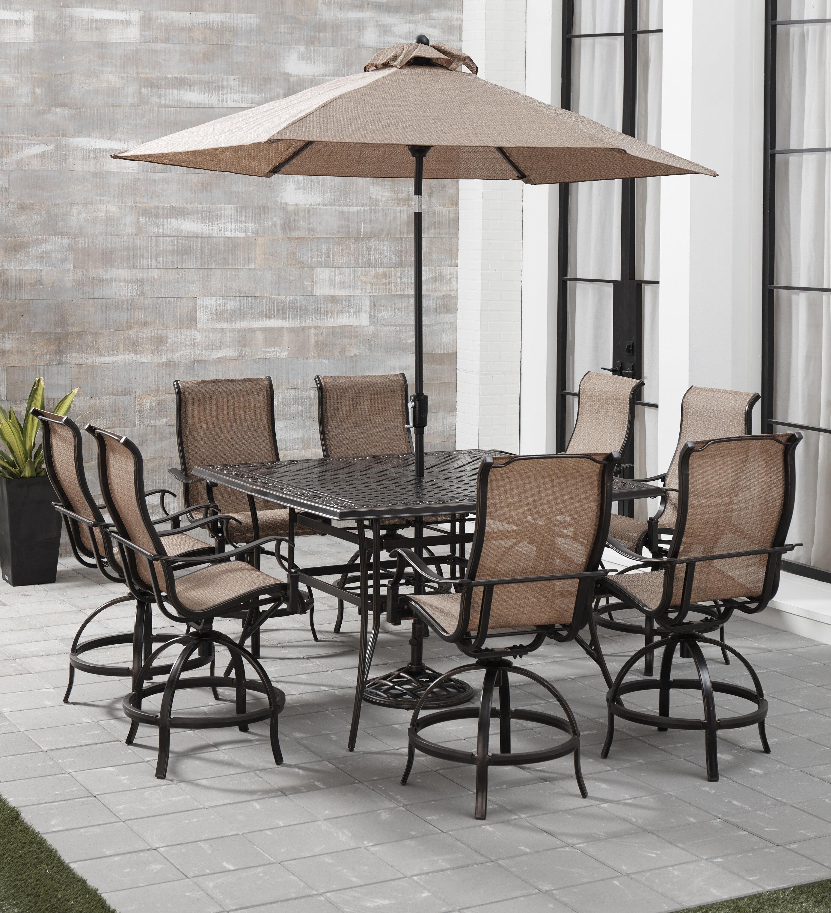 Fleur De Lis Living Bucher 9 Piece Outdoor Dining Set With Umbrella Wayfair