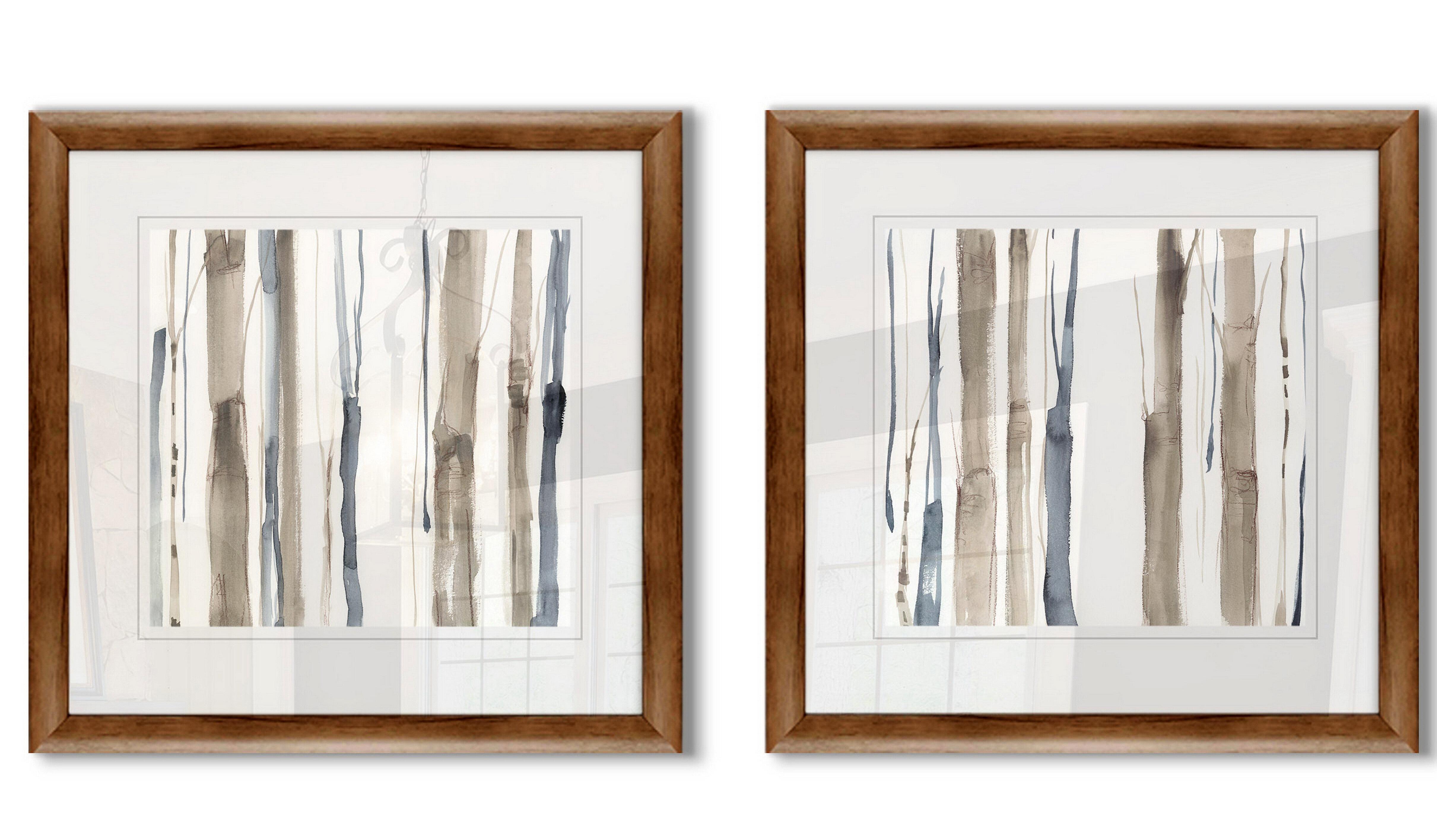 Ebern Designs Duo Tone Trees I 2 Piece Framed Print Set Wayfair