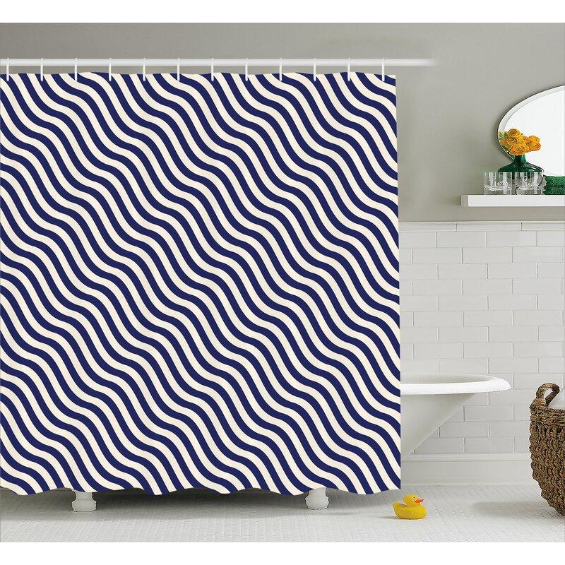 Ebern Designs Carvell Wavy Stripes Dark Blue Shower Curtain | Wayfair