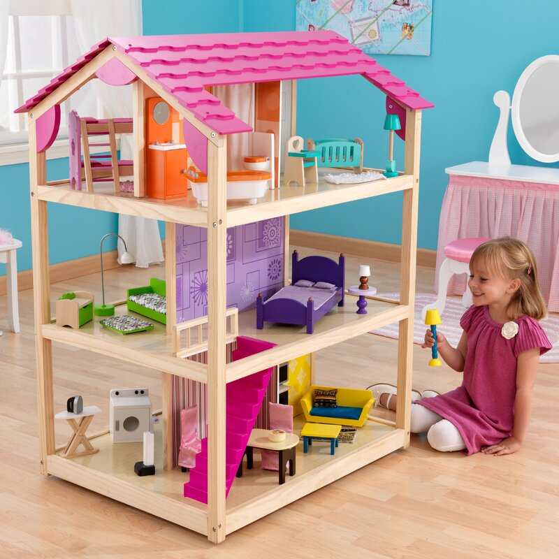 HOT ITEM Kid Kraft So Chic Girls Kids Pretend Dollhouse 3 levels 10 rooms Gift