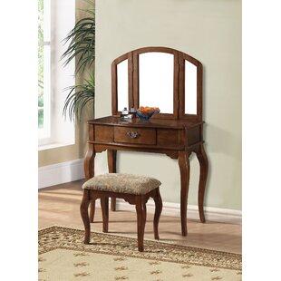 A&J Homes Studio Marane Oak Vanity Set with Mirror