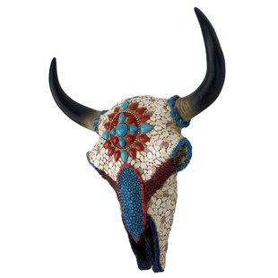 Mystic Plains Warrior Faux Gem Encrusted Cow Skull Wall Decor
