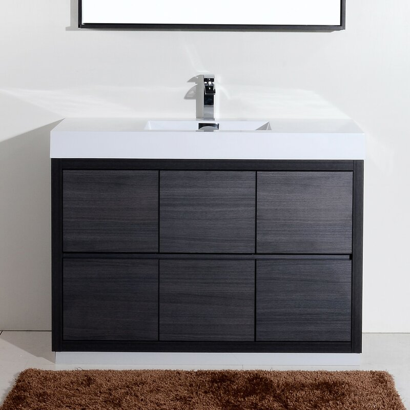 Wade Logan Tenafly Single Free Standing Modern Bathroom Vanity - Modern free standing bathroom vanities