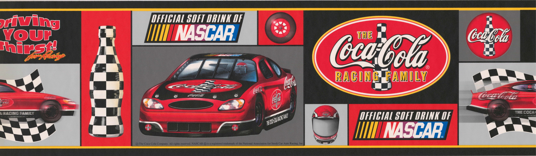 coca cola official sponsor of nascar racing cars sports retro design 15 l x 7 w wallpaper border