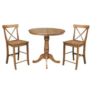 Yacoubou Extendable Counter Height 3 Piece Pub Table Set August Grove