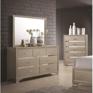 House of Hampton Cirebon 7 Drawer Double Dresser with Mirror
