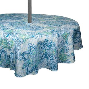 Wilen Watercolor Paisley Printed Umbrella Outdoor Round Tablecloth