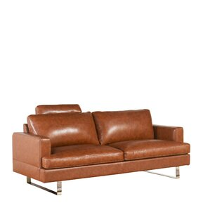 Charles Mid Century Camel Top Grain Leather Loveseat by Brayden Studio