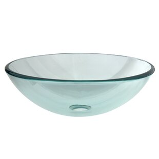Price comparison Templeton Glass Circular Vessel Bathroom Sink By Kingston Brass
