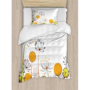 Floral Umbelifers Flower Garden Summer Spring Season Themed Cute Petals Illustration Duvet Set by Ambesonne