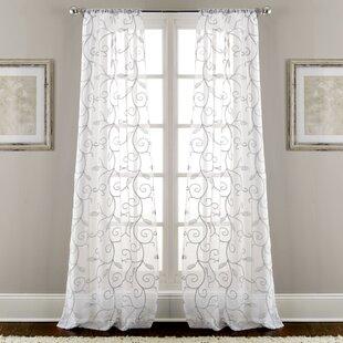 Lindsey Embroidered Nature/Floral Semi-Sheer Rod Pocket Curtain Panels (Set of 2) by Fleur De Lis Living