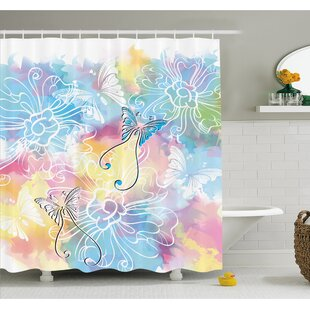 Romantic Brushstroke Backdrop with Haze Blur Splash Features and Moth Antler Shower Curtain Set
