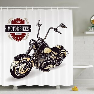 Price comparison Vintage Old Classic Motorcycle Shower Curtain Set ByAmbesonne