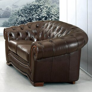 Medrano Leather Chesterfield Loveseat