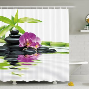 Spa Asian Relaxation with Zen Massage Stones Orchid and Bamboo Shower Curtain Set