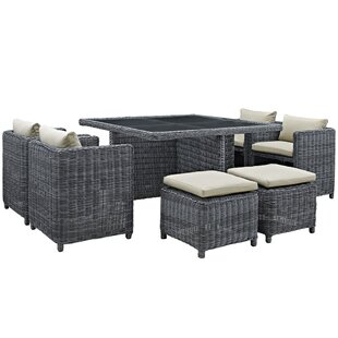Brayden Studio Keiran 9 Piece Outdoor Patio Dining Set with Sunbrella Cushions
