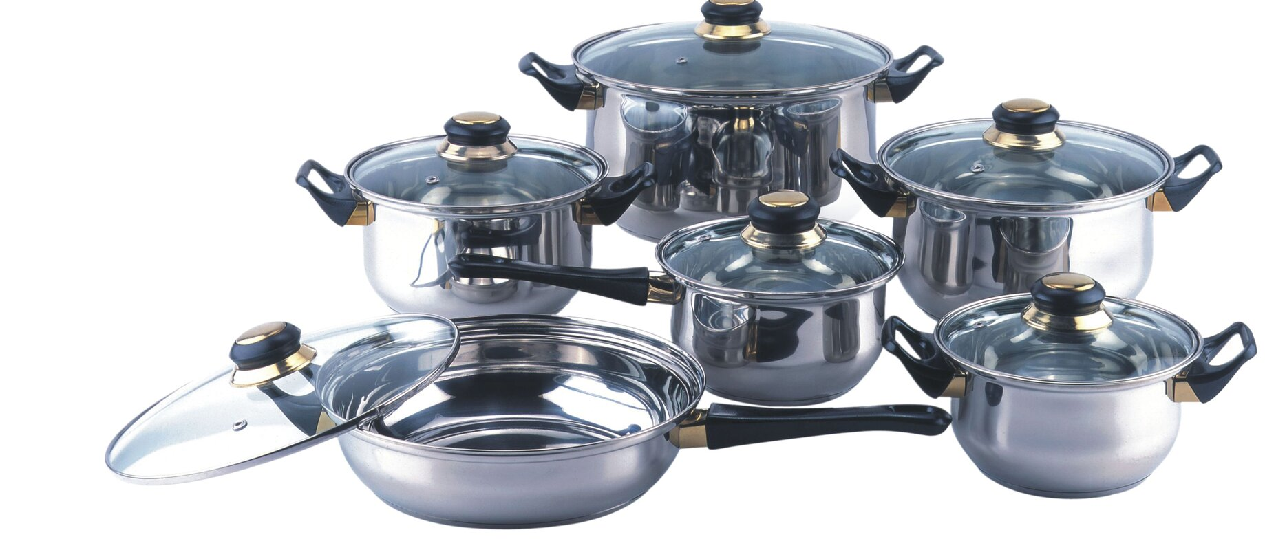 Gourmet Chef Gourmet Chef 12 Stainless Steel Piece Cookware Set ...