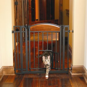 Design Studio Walk Through Pet Gate with Small Pet Door