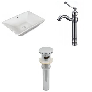 Affordable Above Counter Ceramic Rectangular Vessel Bathroom Sink with Faucet and Overflow By Royal Purple Bath Kitchen