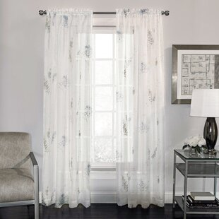 Fern Nature Floral Semi Sheer Rod Pocket Single Curtain Panel