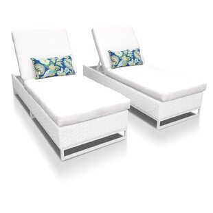 TK Classics Miami Chaise Lounges with Cushions (Set of 2)