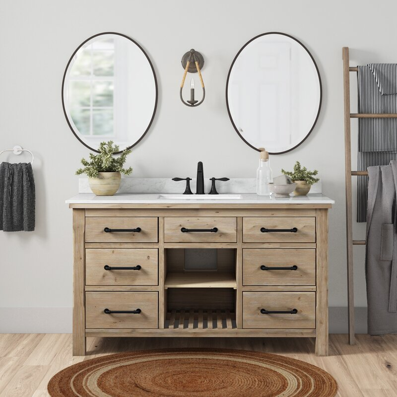 "birch lane™ eaddy 55"" single bathroom vanity set & reviews"