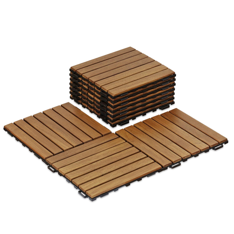 Freeport Park Stallings Outdoor Floor 11 8 X Wood Interlocking Deck Tiles In Honey Oak Reviews Wayfair