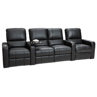 Latitude Run Leather Home Theater Row Seating (Row of 4 with Middle Loveseat)