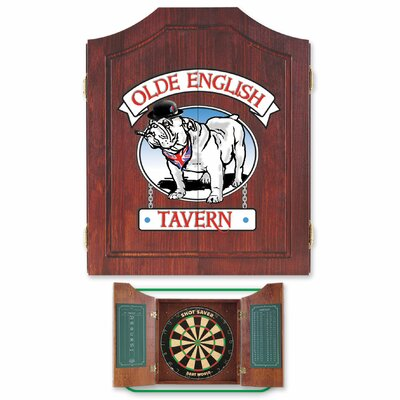 Dart World Bulldog Dartboard and Cabinet Set