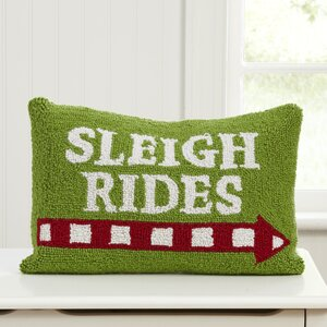 Sleigh Rides Hooked Pillow