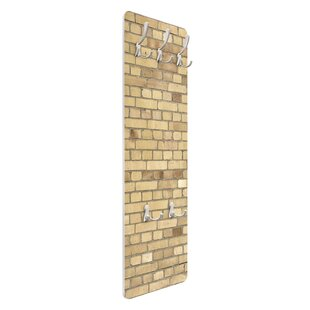 Light Yellow Brick Wallpaper Wall Mounted Coat Rack By Symple Stuff