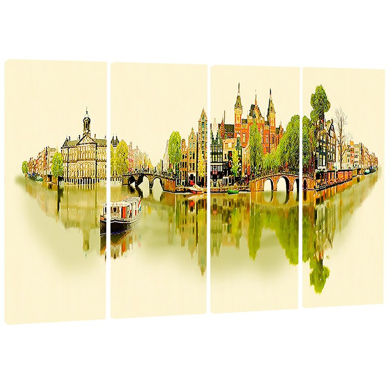 Designart Amsterdam Panoramic View Cityscape 4 Piece Painting Print On Wrapped Canvas Set Wayfair