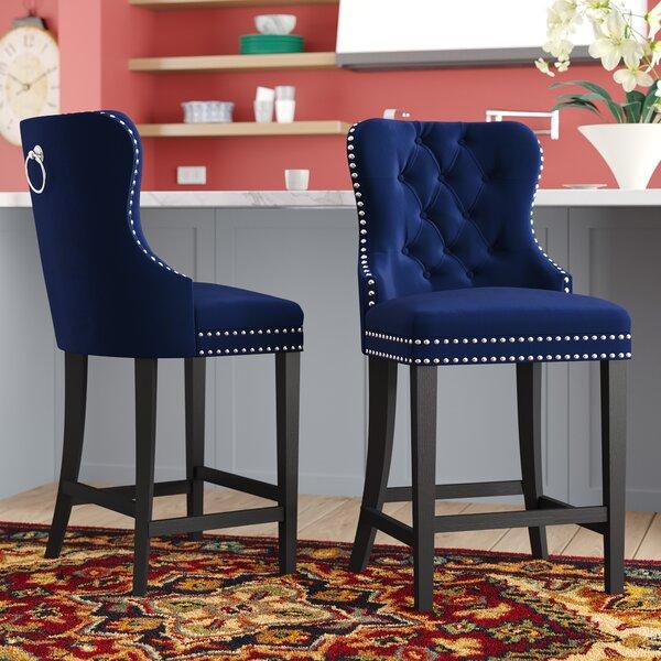 Miraculous Navy Blue Velvet Bar Stools Wayfair Alphanode Cool Chair Designs And Ideas Alphanodeonline