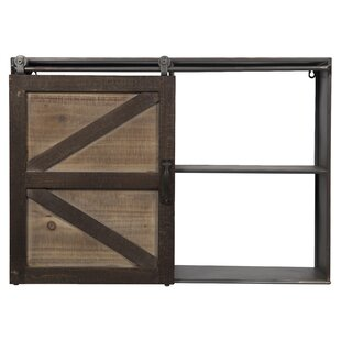 Leipzig Farmhouse Sliding Barn Door Storage Cabinet Wall Shelf by Gracie Oaks