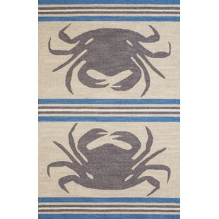 Crab Shack Hand-Woven Gray/Blue Indoor/Outdoor Area Rug